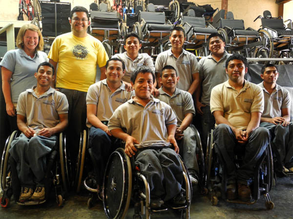 The Transitions foundation wheelchair workshop team